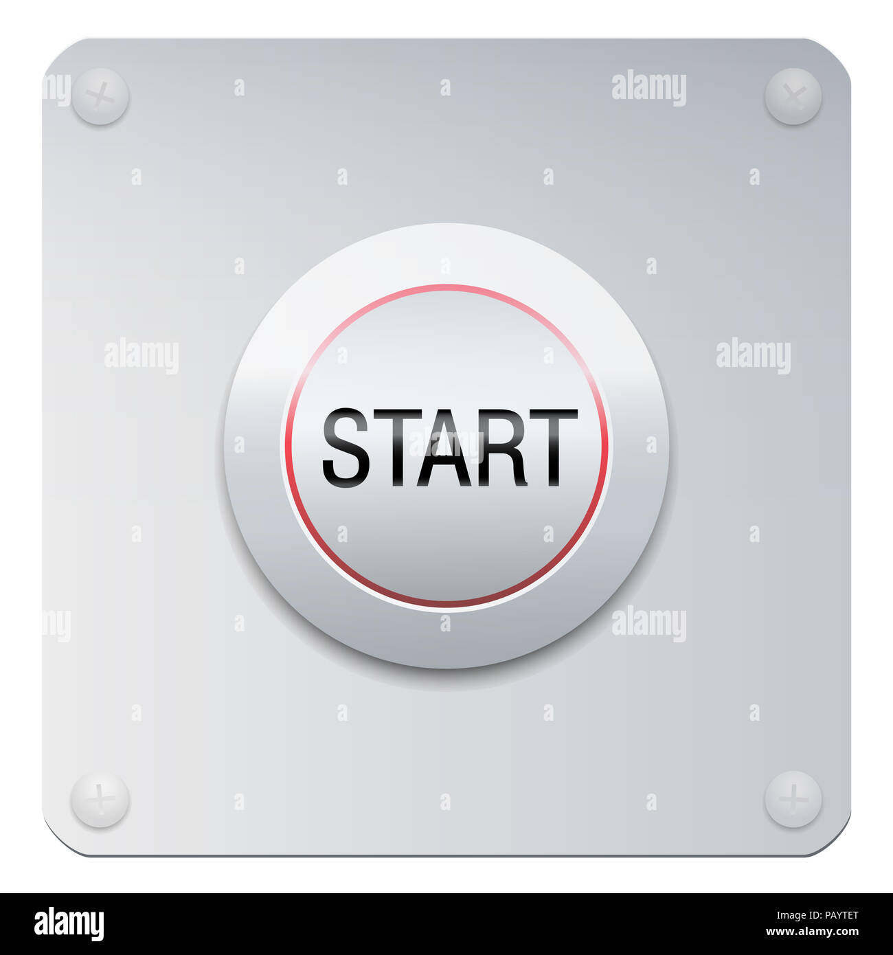Start button on a chrome panel to start machines, gadgets instruments, but also a new project, adventure, lifestyle, relationship or other beginnings. - Stock Image