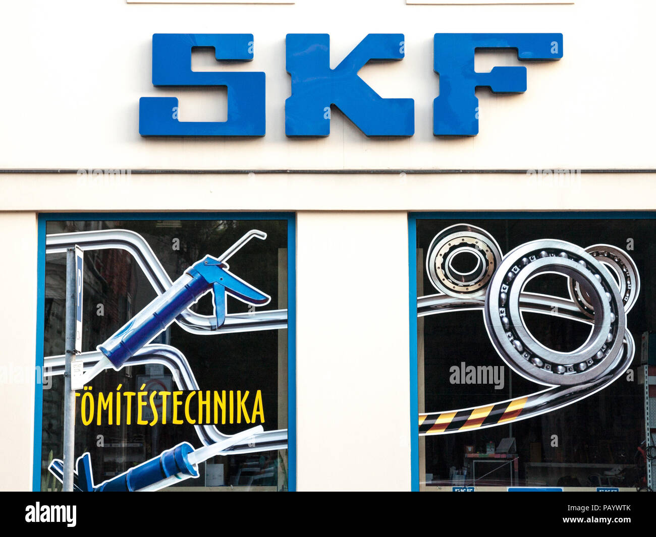 SZEGED, HUNGARY - JULY 3, 2018: SKF logo on their main shop for Szeged. SKF, from Sweden, is the world's largest bearing manufacturer, spread worldwid - Stock Image
