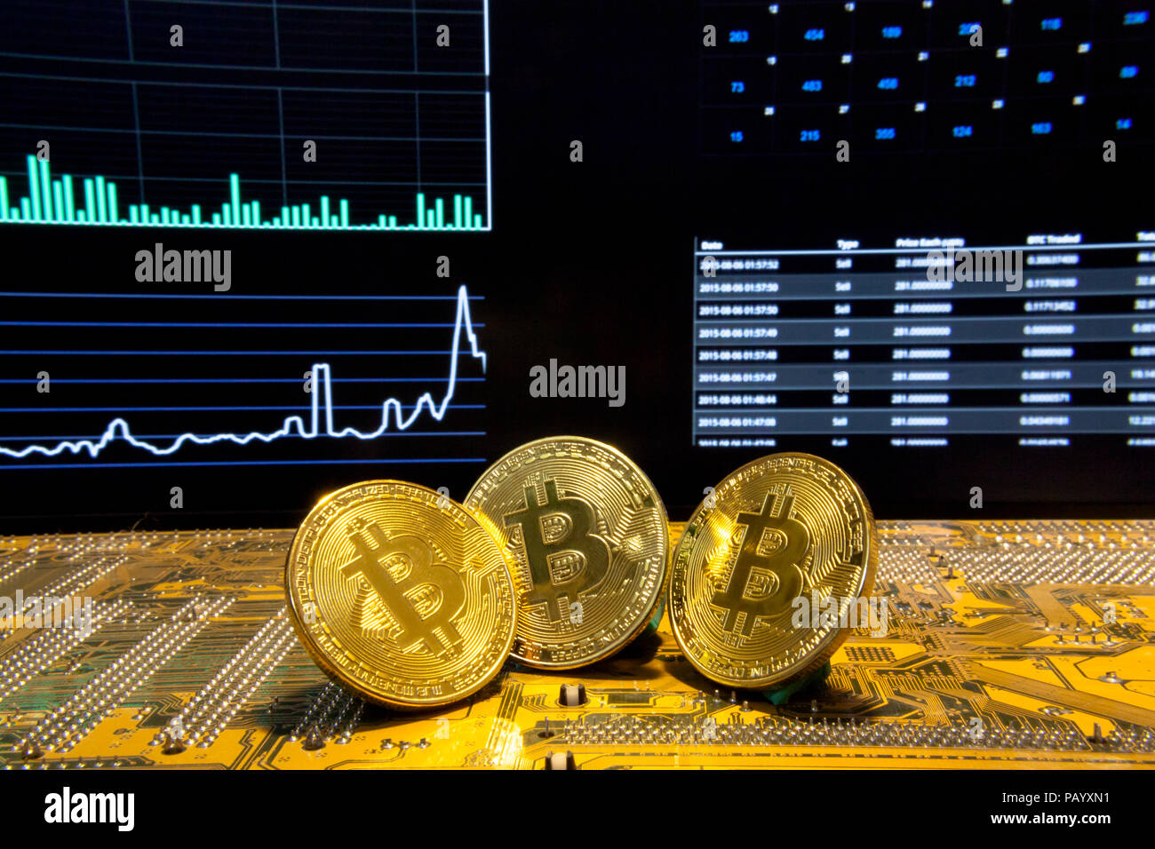Three golden bitcoins on a printed circuit board. Background: statistics, charts and indicators, about virtual digital crypto-currencies; clear shot. - Stock Image