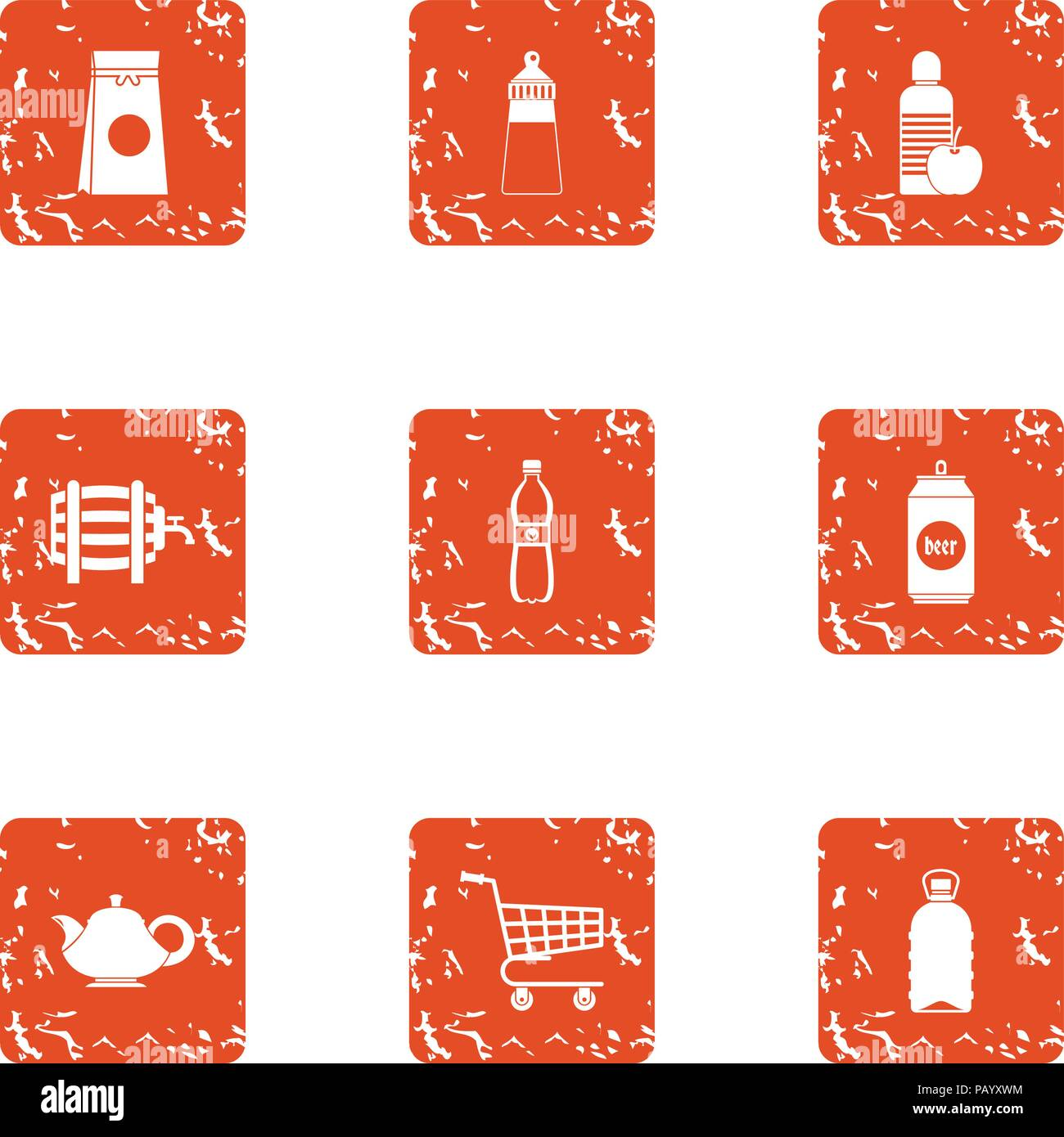 Drink shop icons set, grunge style - Stock Image