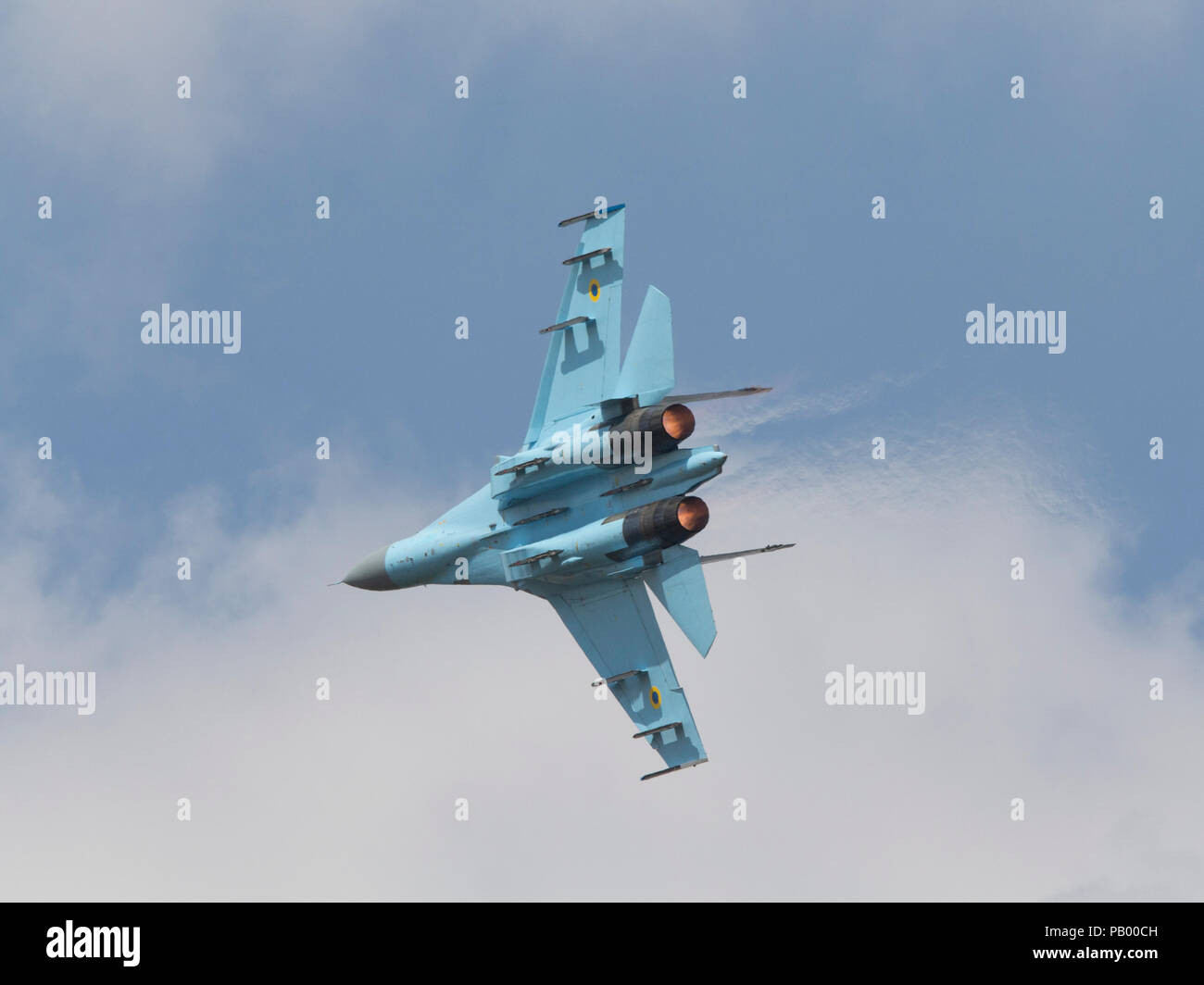 Ukrainian Sukhoi SU-27 Flanker jet fighter combat aircraft flying at the 2018 Royal International Air Tattoo - Stock Image
