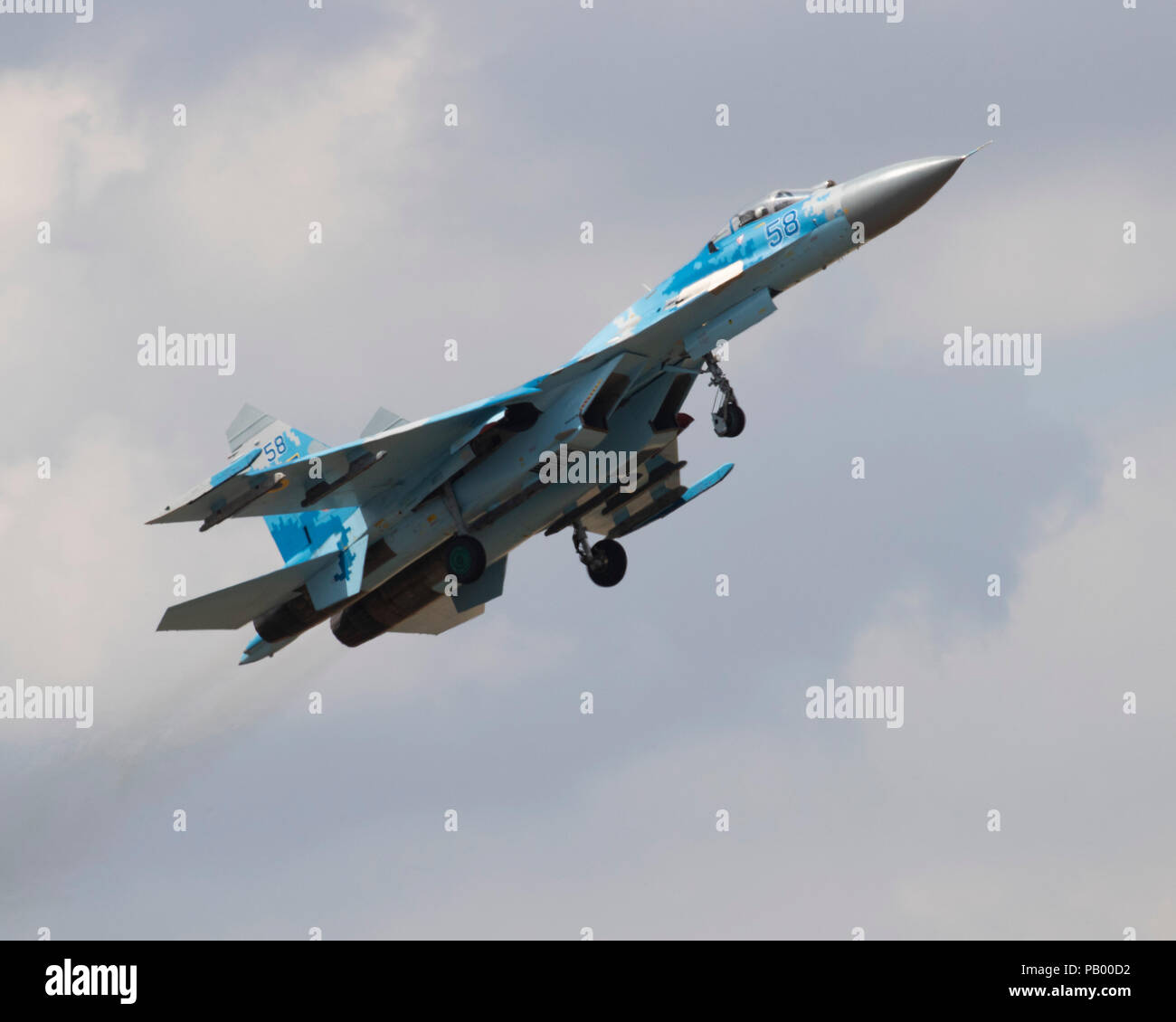 Ukrainian Sukhoi SU-27 Flanker jet fighter combat aircraft flying at the 2018 Royal International Air Tattoo - Stock Image