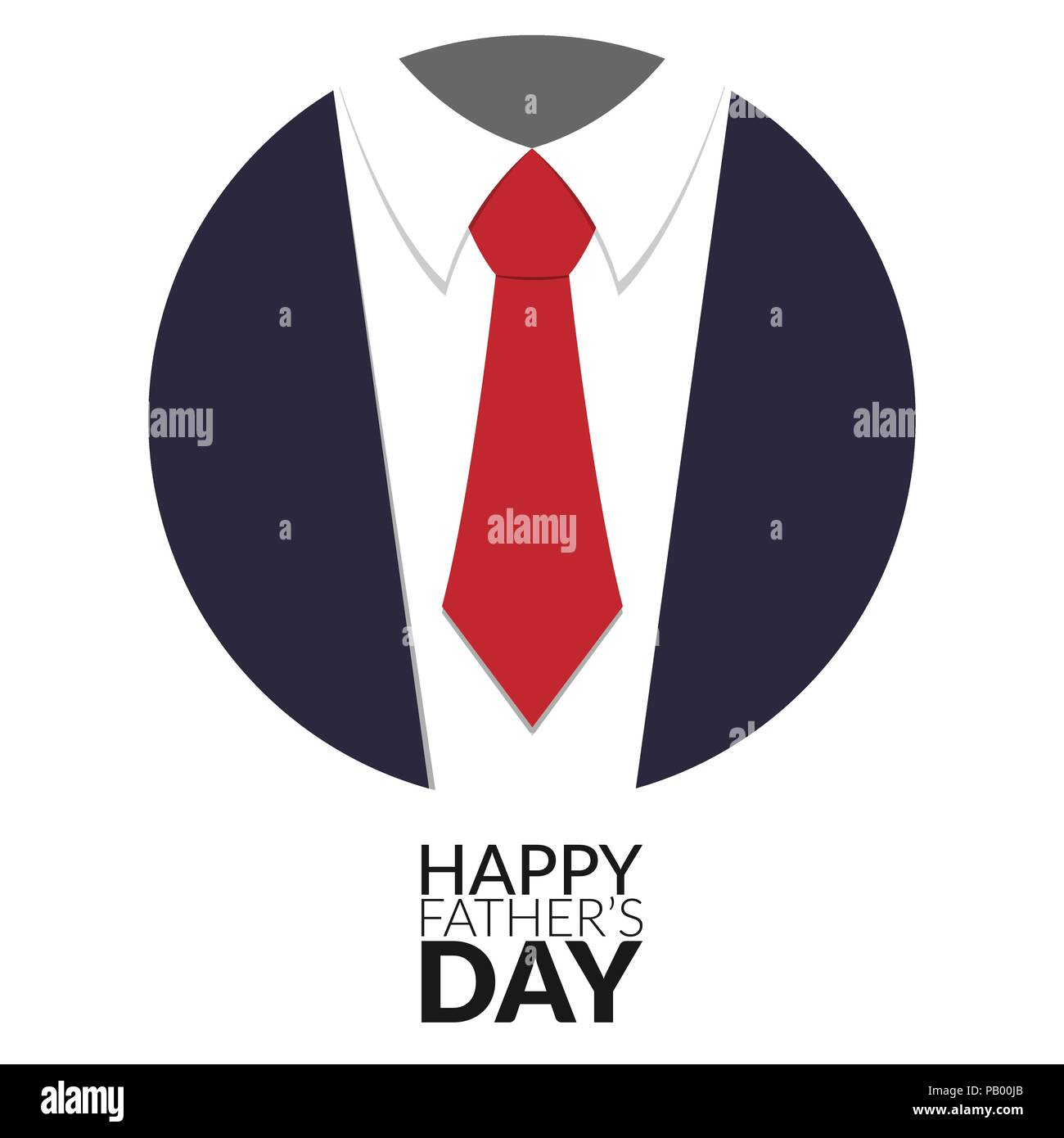 Happy Fathers Day Greeting Card Design With Suit And Big Tie In Circle Vector Illustration
