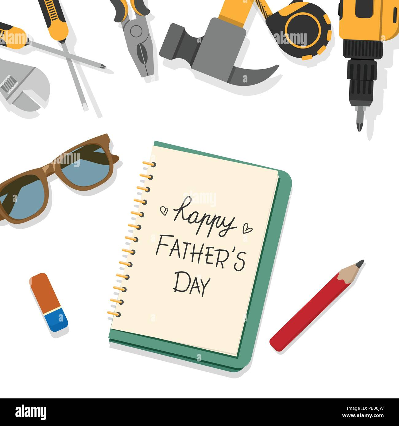 Happy Fathers Day Word Write By Pencil On Book Page With Top Border Of Home Tools Isolated White Background