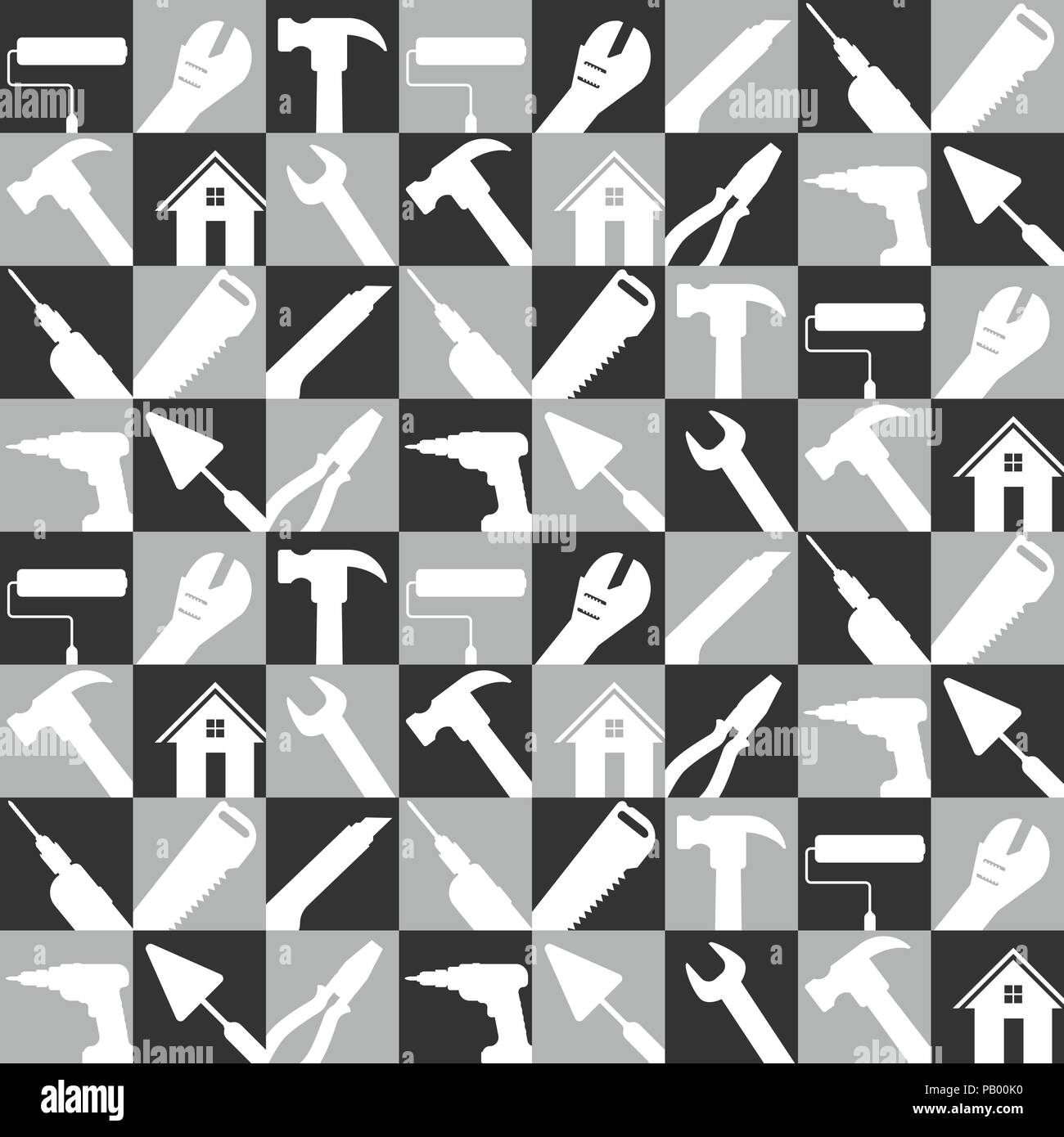 stock vector illustration set of home repair tools icons. construction buildings tools for background. black and white color , flat design - Stock Image