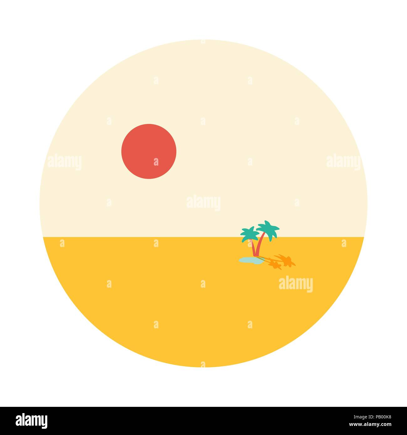 Oasis in desert lake with two palms in middle of sands and big hot sun vector round vignette illustration isolated on wgite - Stock Image