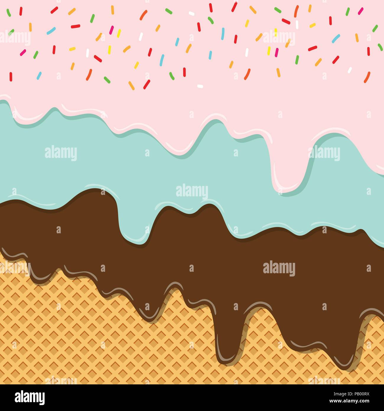 Ice Cream Wide Wallpapers Free: Sweet Flavor Ice Cream Texture Layer Melted On Wafer