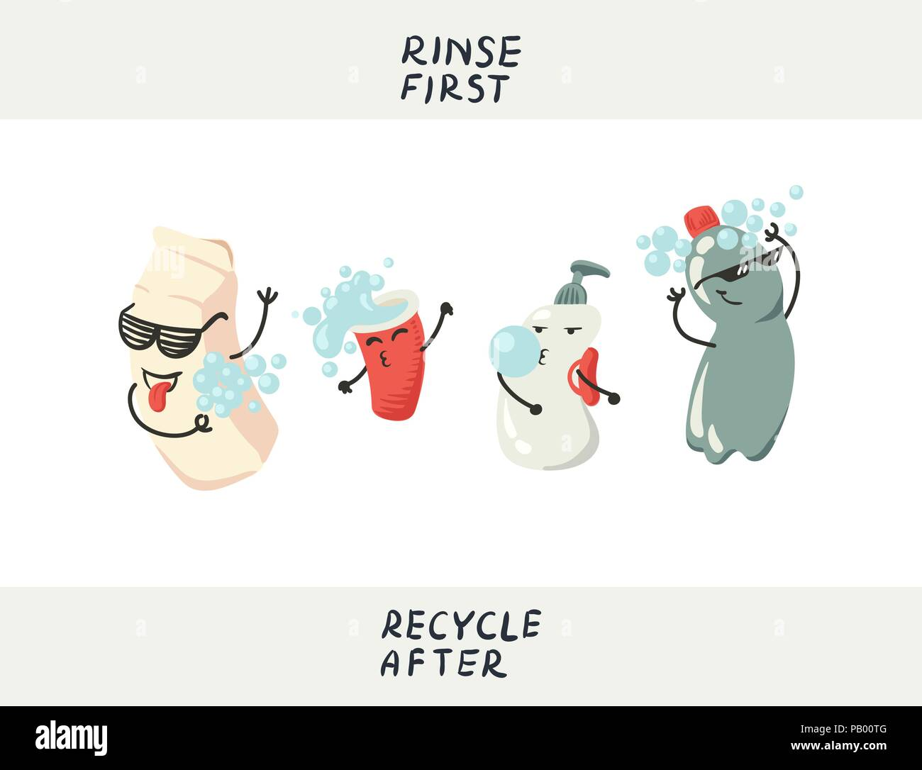 Vector illustration of dancing recycable trash, rinsing befor recycling - funny instruction for kids about environment and ecology issues - Stock Vector
