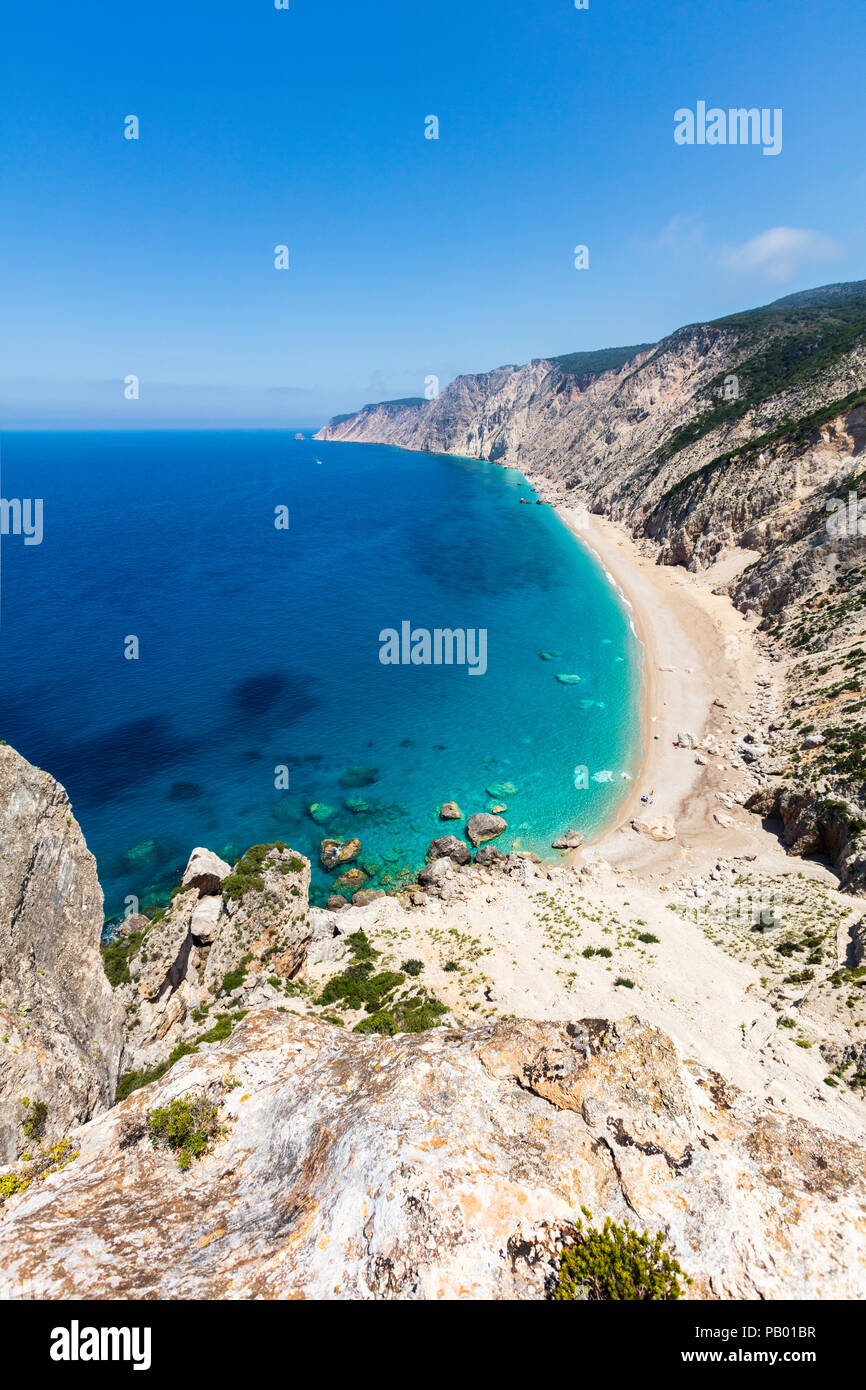 View from above to an untouchable beach of an island in Ionian sea Stock Photo