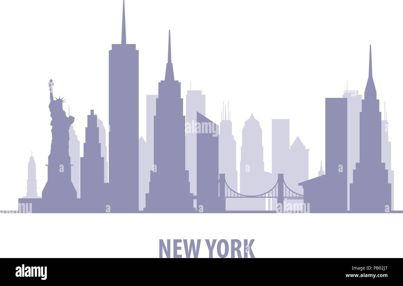 New York cityscape - Manhatten skyline silhouette - Stock Vector