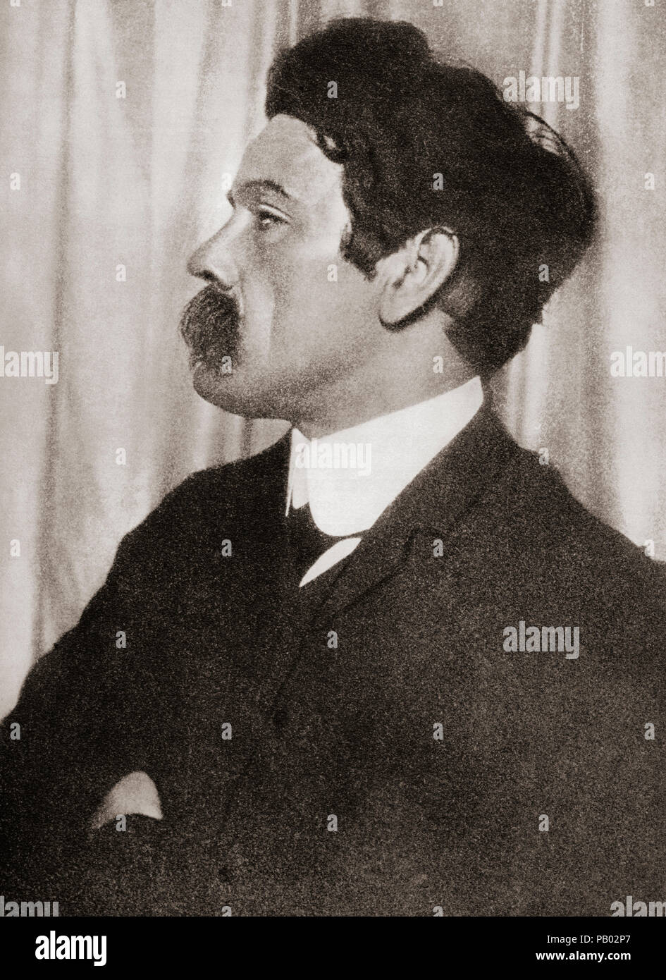 Edmund John Millington Synge, 1871 – 1909.  Irish playwright, poet, prose writer, travel writer and collector of folklore.  After a contemporary print. - Stock Image