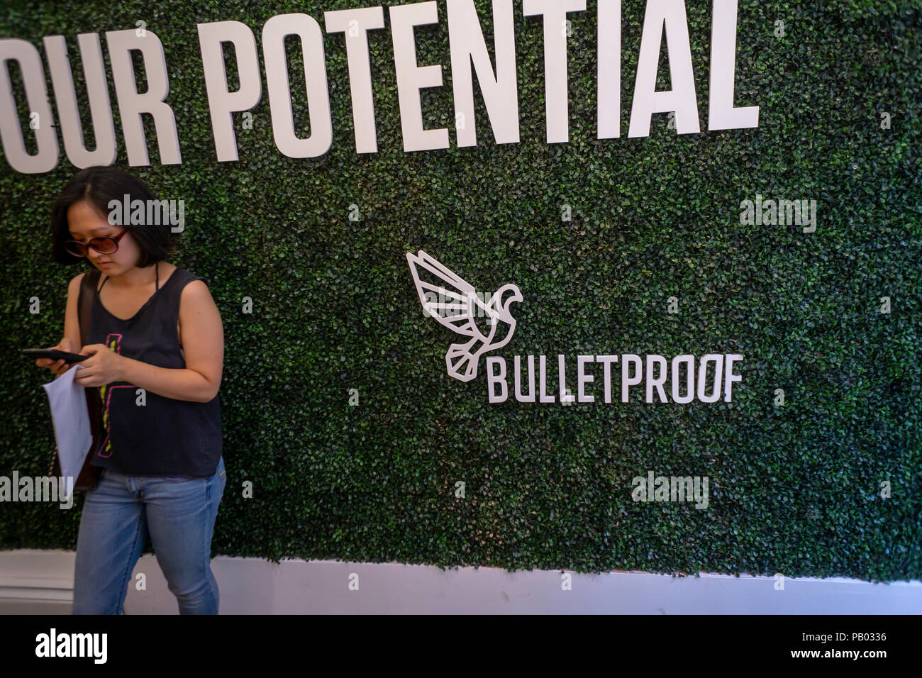 The Bulletproof Coffee pop-up branding event in the Soho neighborhood of New York on Thursday, July 12, 2018. Bulletproof, although branded to a specific company, refers to the popular fad among the paleo aficionados of putting butter (or coconut fat, or collagen) in your coffee. (© Richard B. Levine) - Stock Image