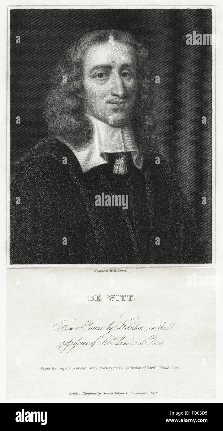 Jan de Witt (1625-1672), Dutch Politician, Portrait, Engraving from a Painting by Netscher - Stock Image
