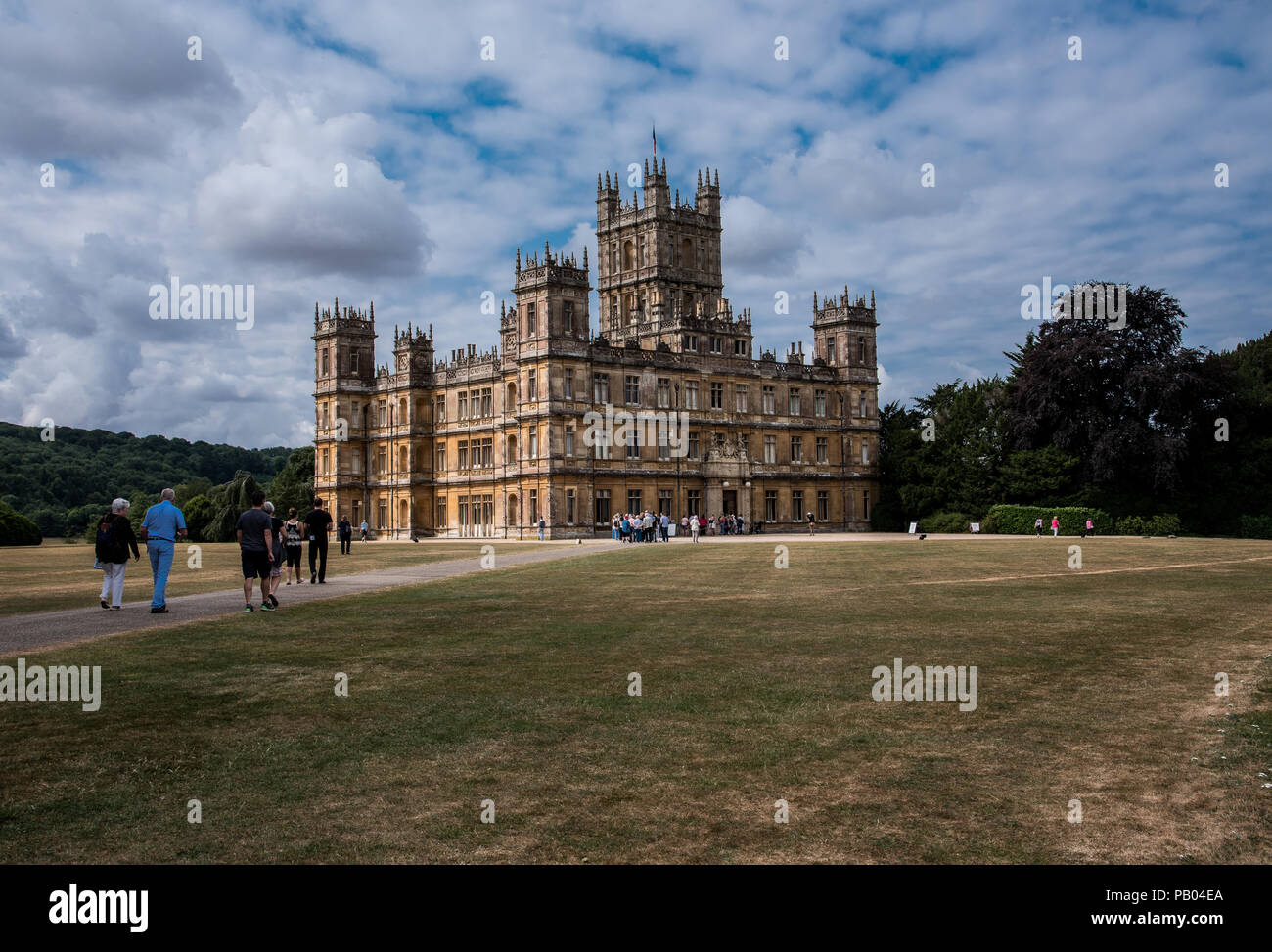 Newbury, England--July 18, 2018. Highclere Castle is on a 5,000 acre estate in Hampshire England, and is the location for Downton Abbey. - Stock Image
