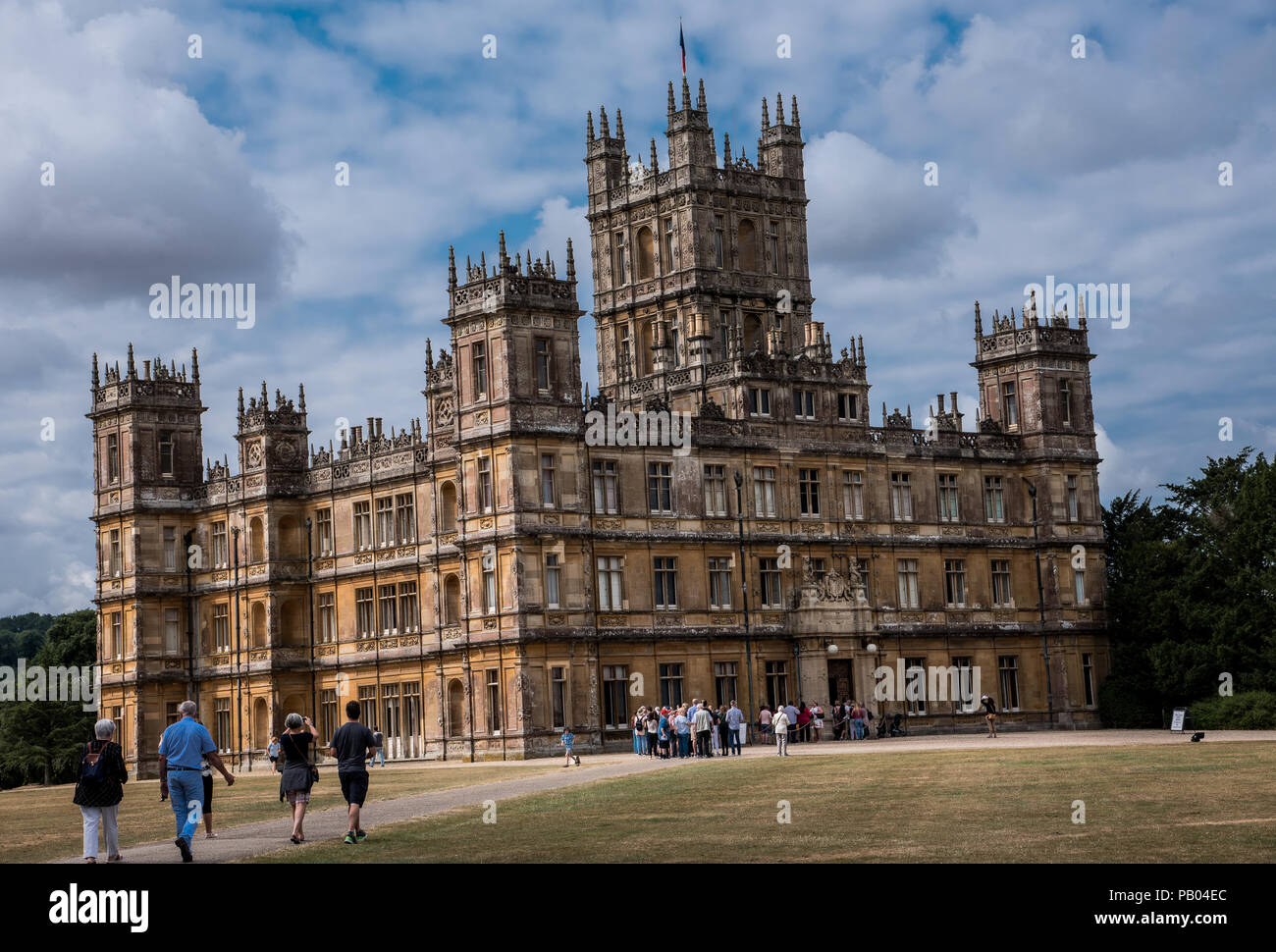 Newbury, England--July 18, 2018. Tourists visit Highclere Castle on a 5,000 acre estate in Hampshire England. It is the location for shooting the PBS  - Stock Image