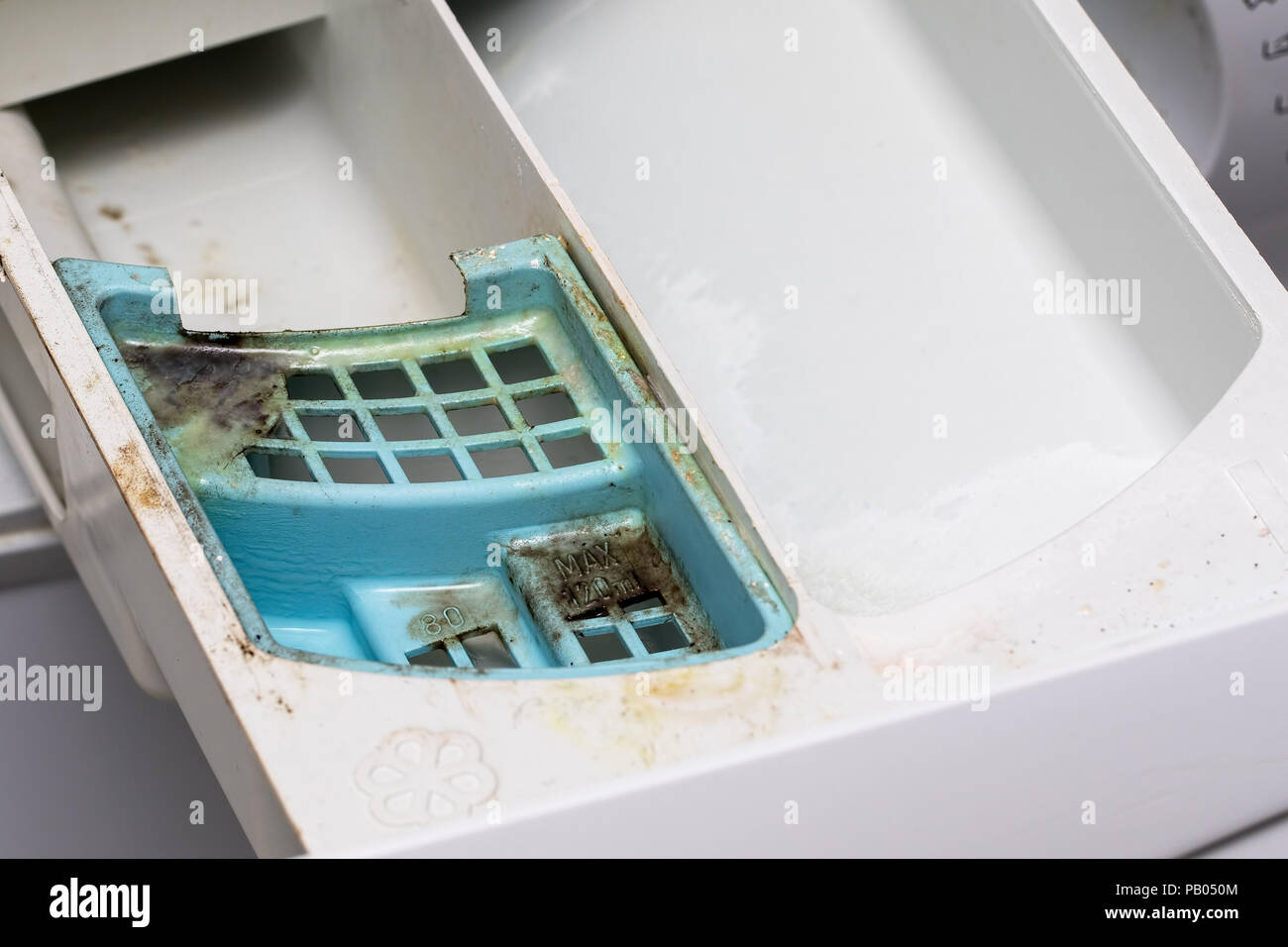 Dirty mouldy washing machine detergent and fabric conditioner dispenser drawer. Mold and dirt in washing machine. - Stock Image