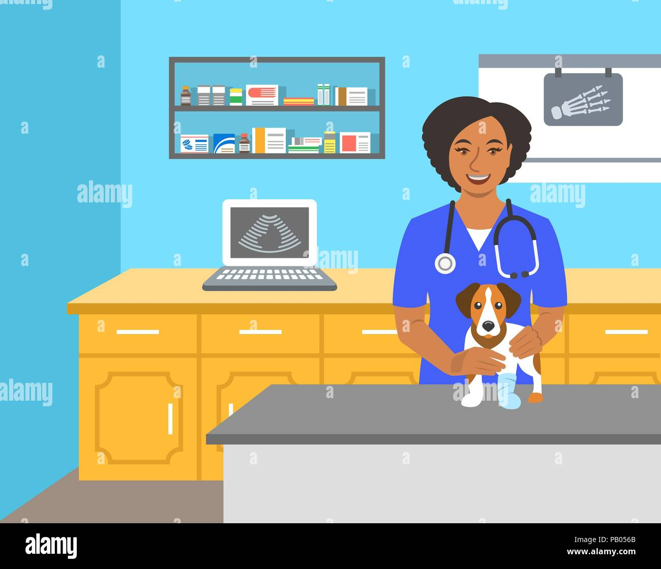 Veterinarian doctor holds dog on examination table in vet clinic. Vector cartoon illustration. Pets health care background. Domestic animals treatment - Stock Image