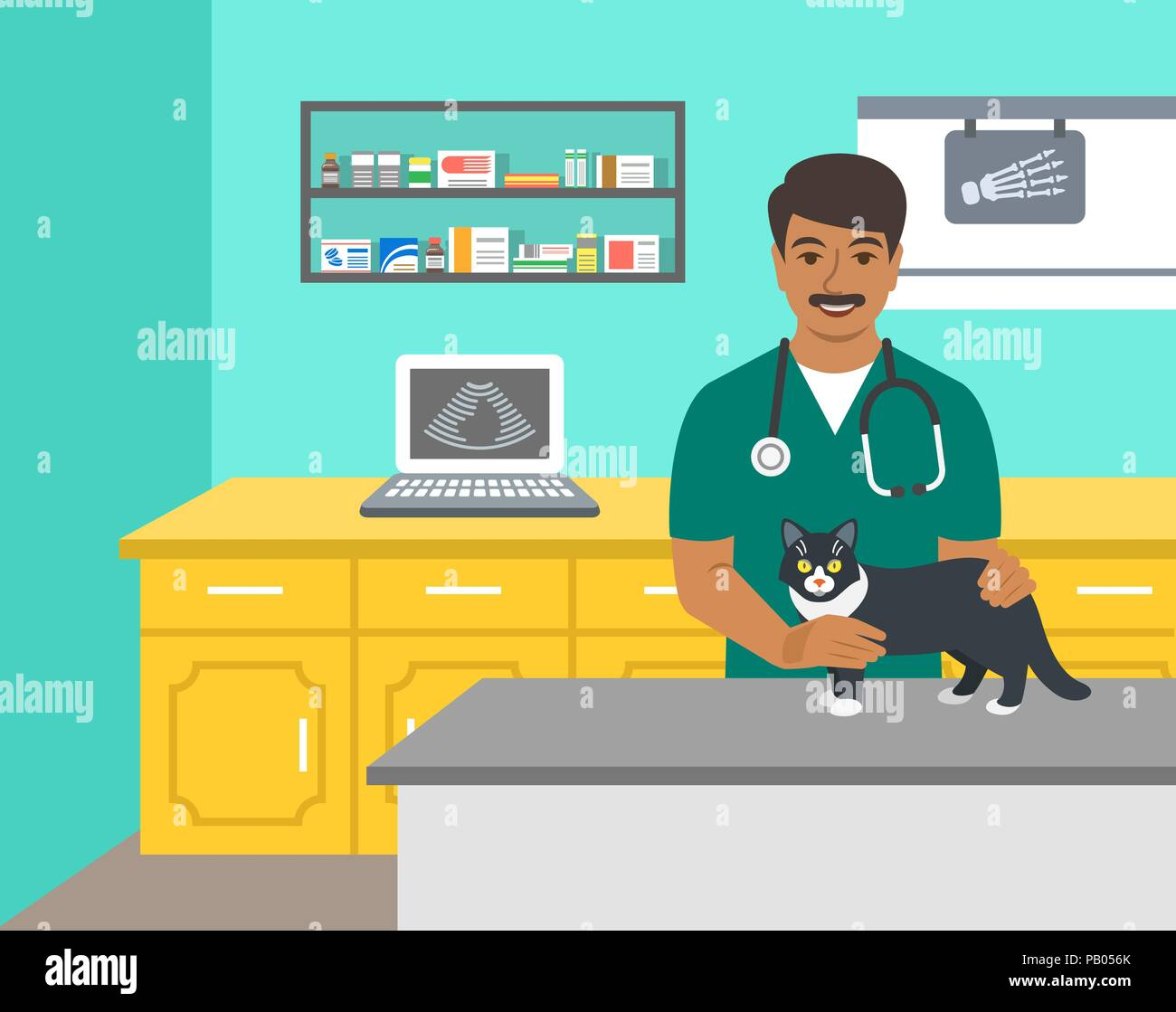 Veterinarian doctor holds dog on examination table in vet clinic. Vector cartoon illustration. Pets health care background. Domestic animals treatment - Stock Vector
