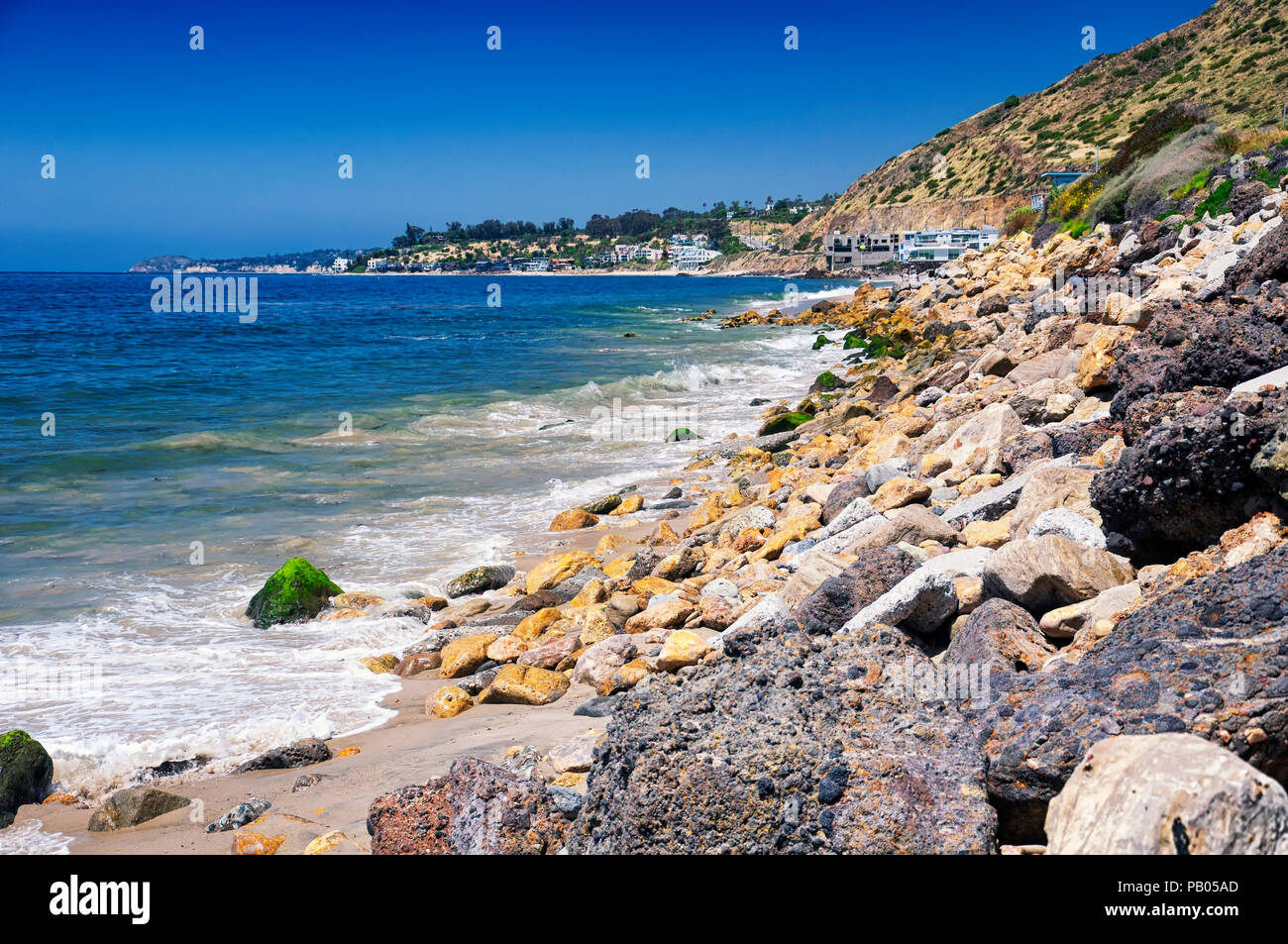 The Pacific Ocean and coastline of california along the pacific coast highway near malibu. - Stock Image
