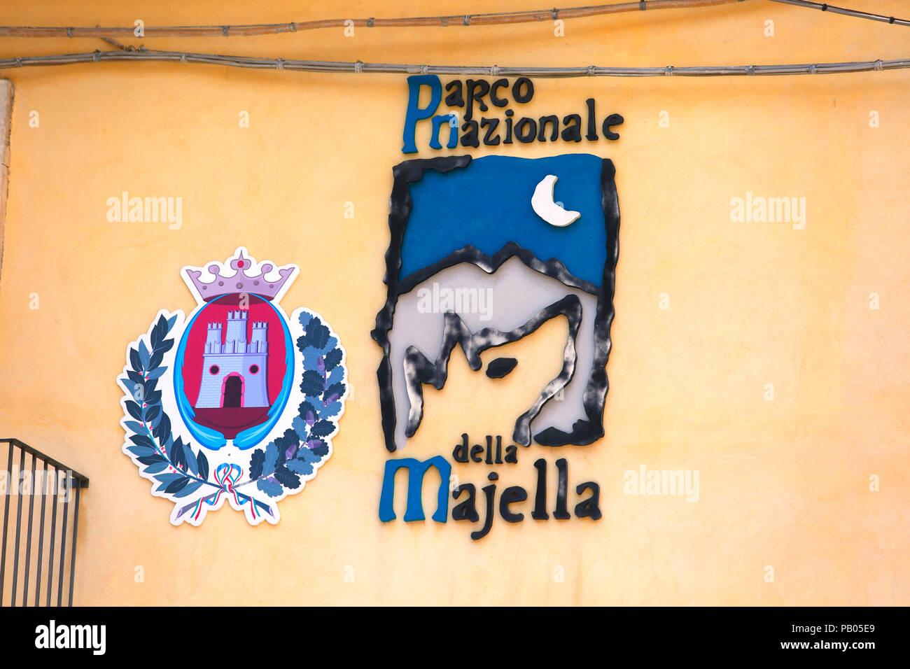 Parco Nazionale della Majella logo in Caramanico Terme. - Stock Image