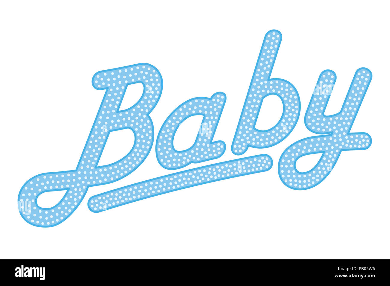 Cursive lettering of the word BABY, blue colored with bright and small dots. Randomly dotted, italic writing. Isolated. Illustration over white. - Stock Image
