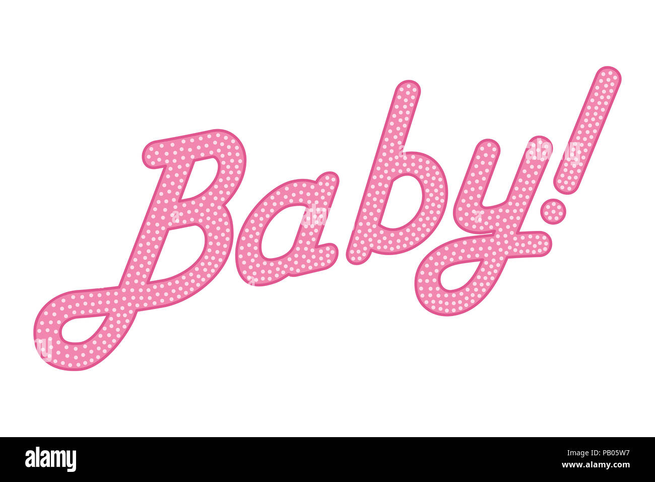 Cursive lettering of the word BABY with callsign, pink colored with bright and small dots. Randomly dotted, italic writing. Isolated. Illustration. - Stock Image