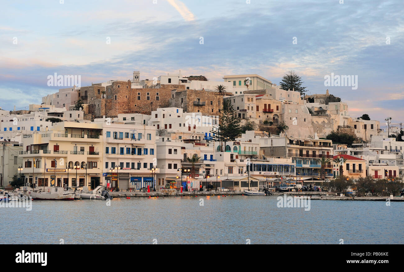 CHORA, GREECE - MARCH 9: Chora old town, Paros island, Greece on March 9, 2018. Chora is a capital of Naxos island, Cyclades, Greece. - Stock Image