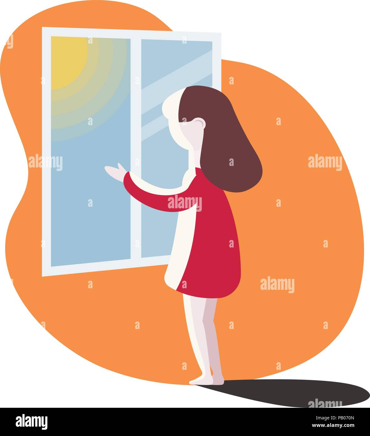 girl looking out the window. vector illustration. - Stock Vector
