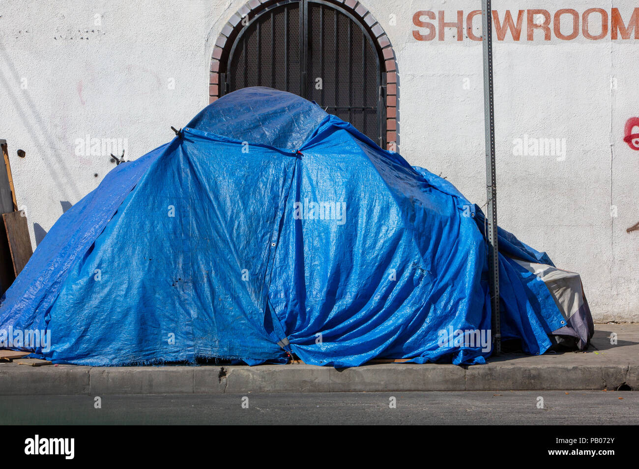 Los Angles affordable housing crisis has created rampant homelessness in and around the city - Stock Image