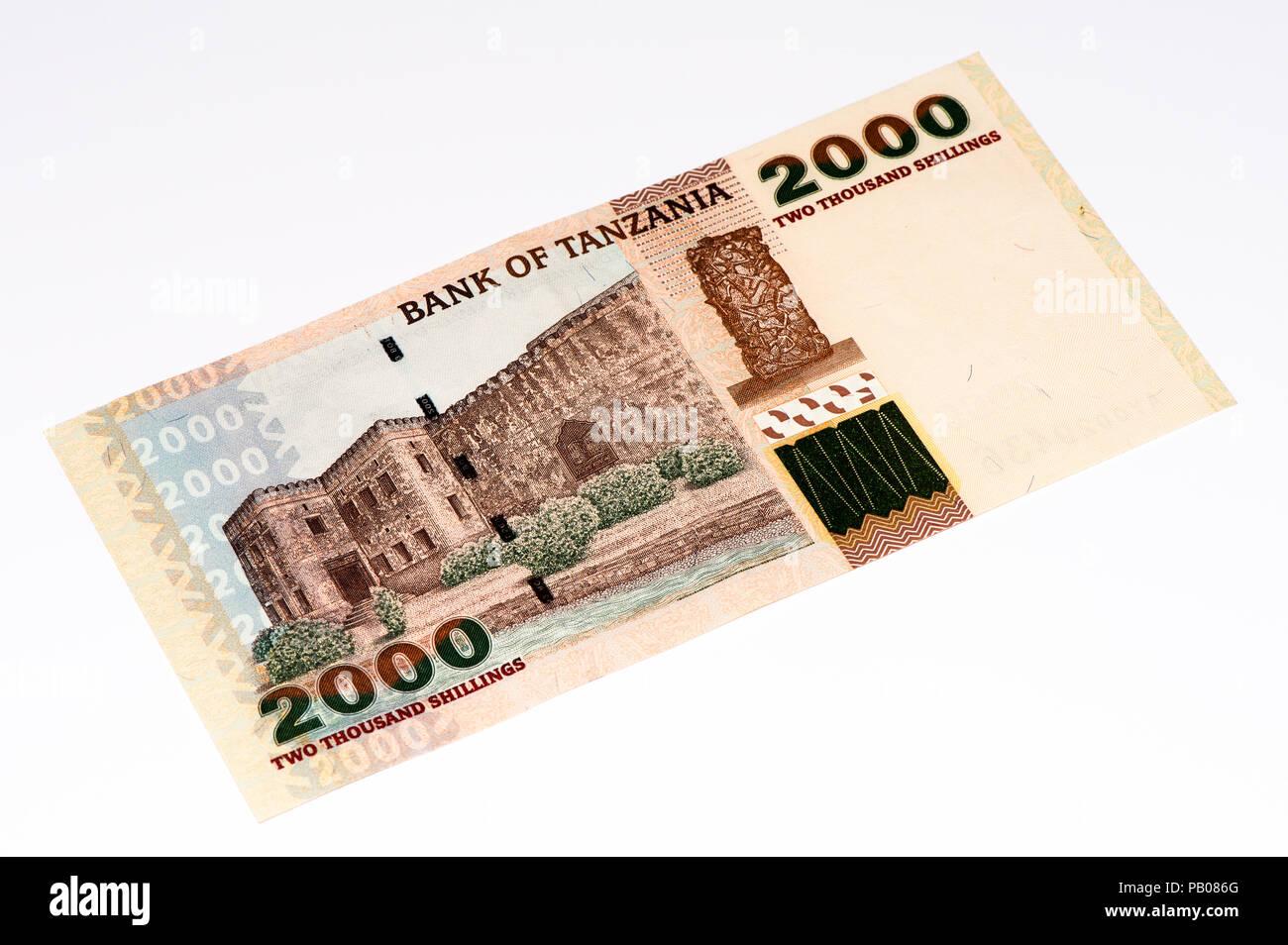 2000 Tanzanian shillings bank note. Tanzanian shilling is the national currency of Tanzania - Stock Image