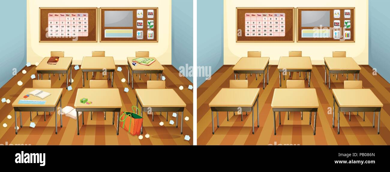A Classroom Before And After Clean Illustration
