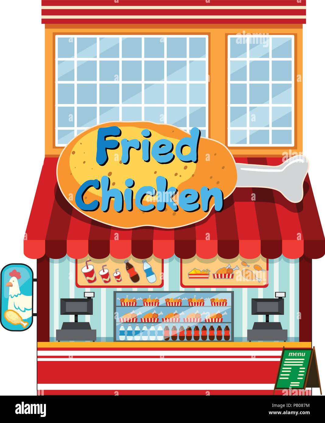 A Fried Chicken Restaurant Illustration Stock Vector Image Art Alamy