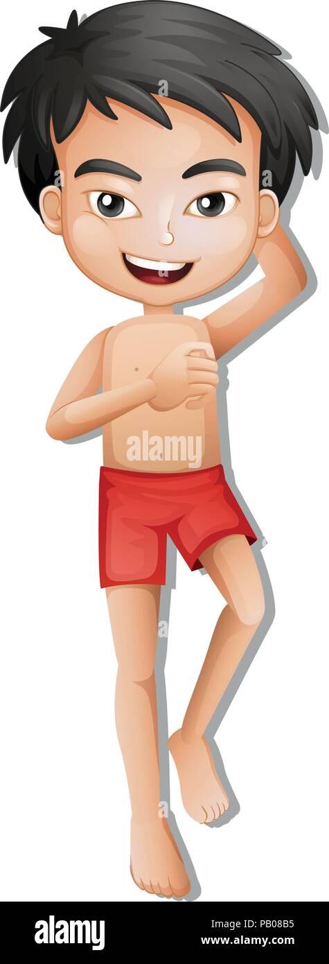 A boy wearing swiming shorts illustration - Stock Vector