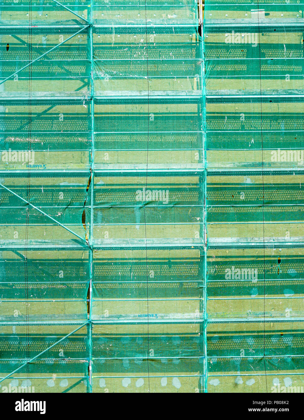 nylon net covers assembled scaffolding - Stock Image