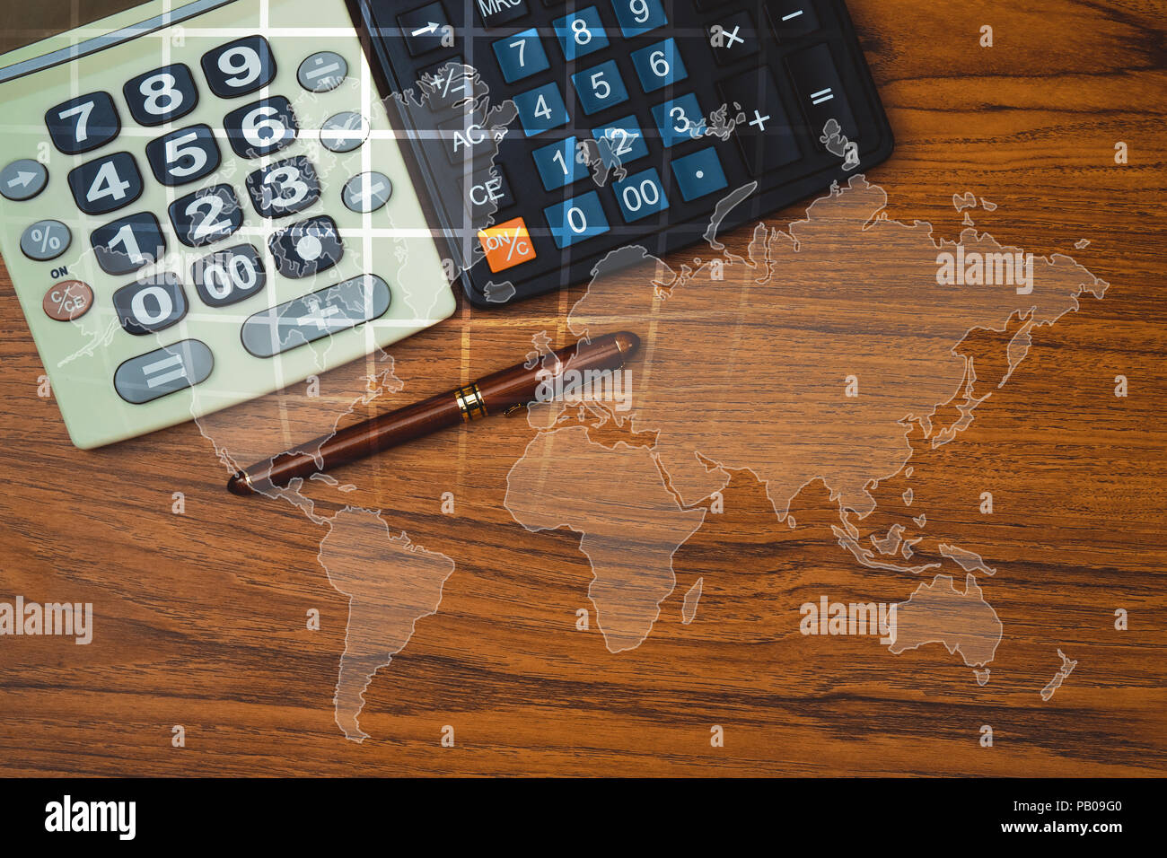 Double exposure of fountain pen or ink pen with calculator on table double exposure of fountain pen or ink pen with calculator on table with world map office desk concept idea element by nasa gumiabroncs Images
