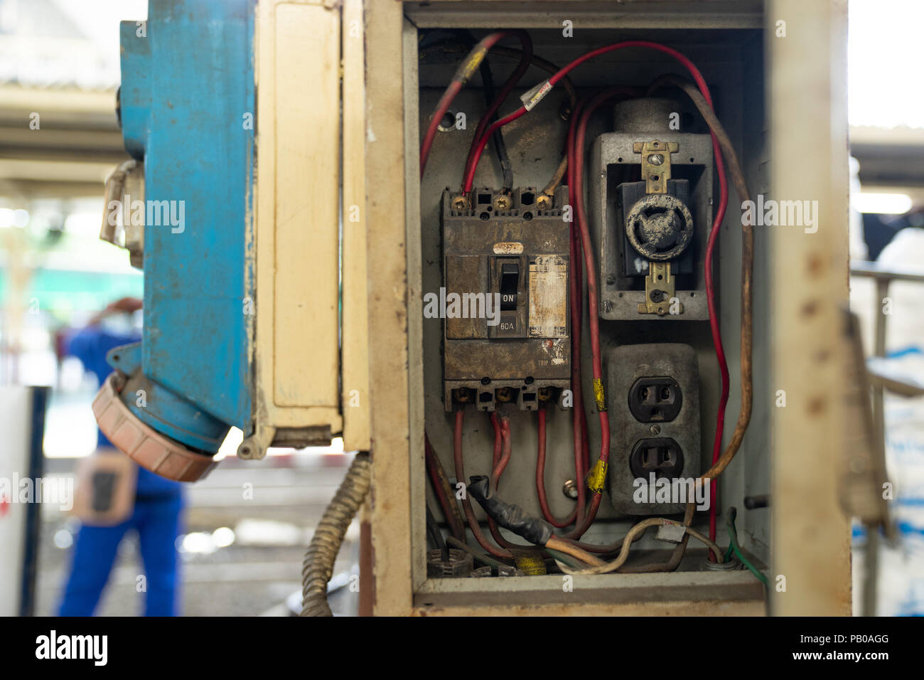 Cool Close Up Old And Dirty Breakers Switch In Electric Box Circuit Wiring 101 Olytiaxxcnl