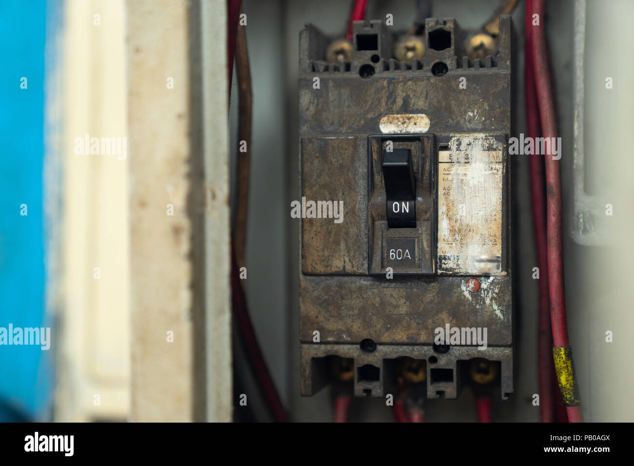 Electrical Panel Circuit Breakers Stock Photos Wiring Box Old And Dirty Switch In Electric