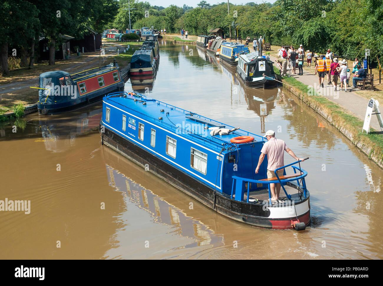 A Narrow Boat Navigating the Shropshire Union Canal near Nantwich Marina in Cheshire England United Kingdom UK Stock Photo