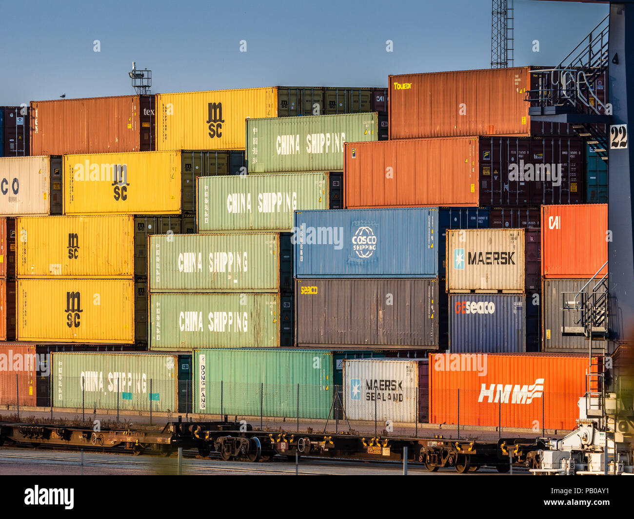 Container Trade - Shipping Containers await loading onto trains at the Felixstowe Port, the UK's largest container port - Stock Image