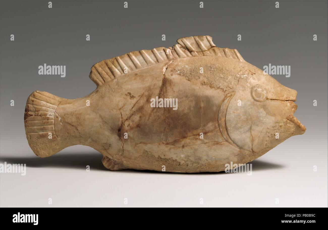 Ointment vase in the shape of a bulti fish. Dynasty: Dynasty 12-17. Date: ca. 1800-1550 B.C.. Museum: Metropolitan Museum of Art, New York, USA. - Stock Image