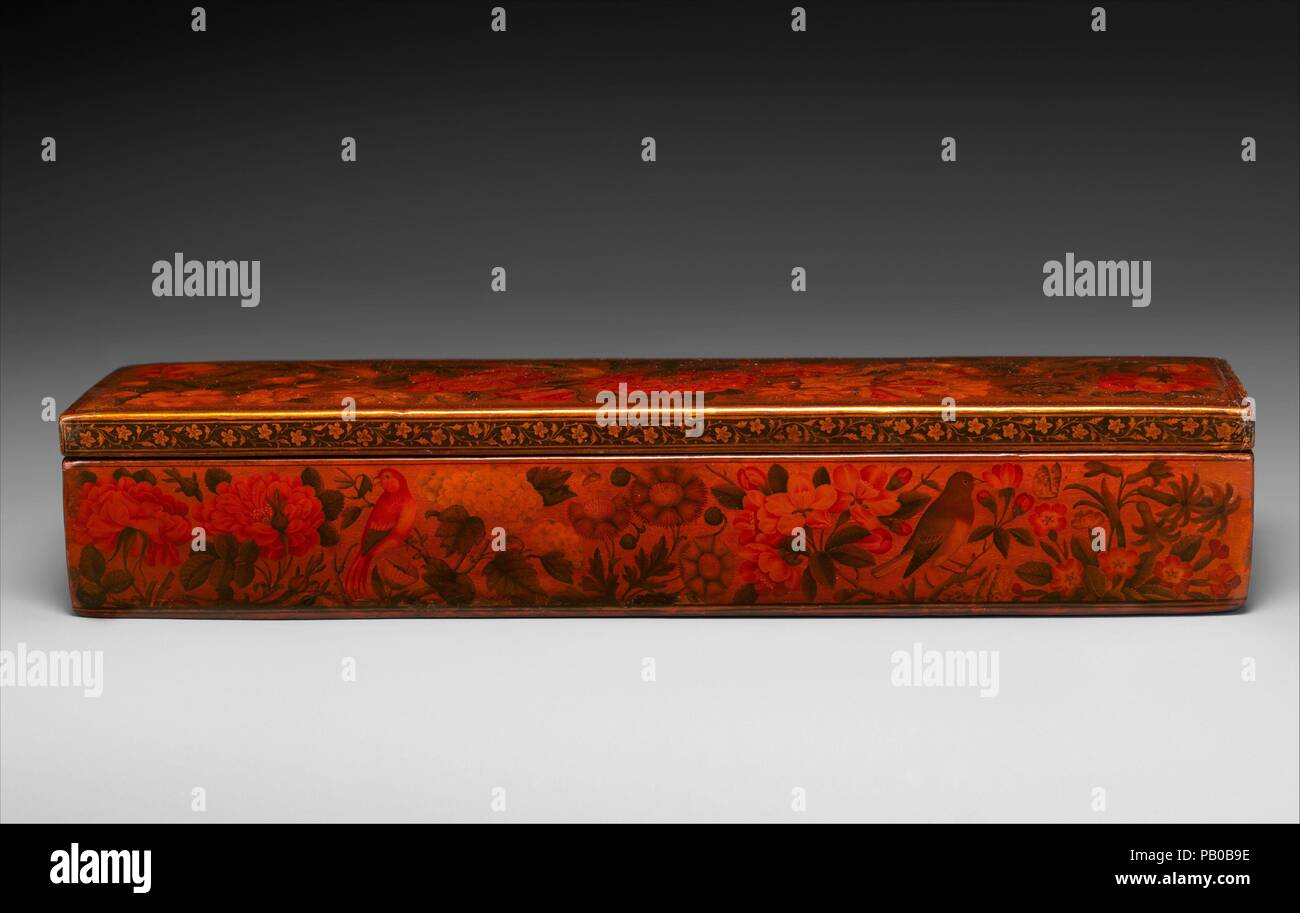 Lacquer Pen Box. Artist: Muhammad Sadiq (active 1740-90s). Dimensions: H. 2 3/16 in. (5.5 cm)  W. 12 3/16 in. (31 cm)  D. 2 7/8 in. (7.2 cm). Date: probably 1793-94. Museum: Metropolitan Museum of Art, New York, USA. Stock Photo