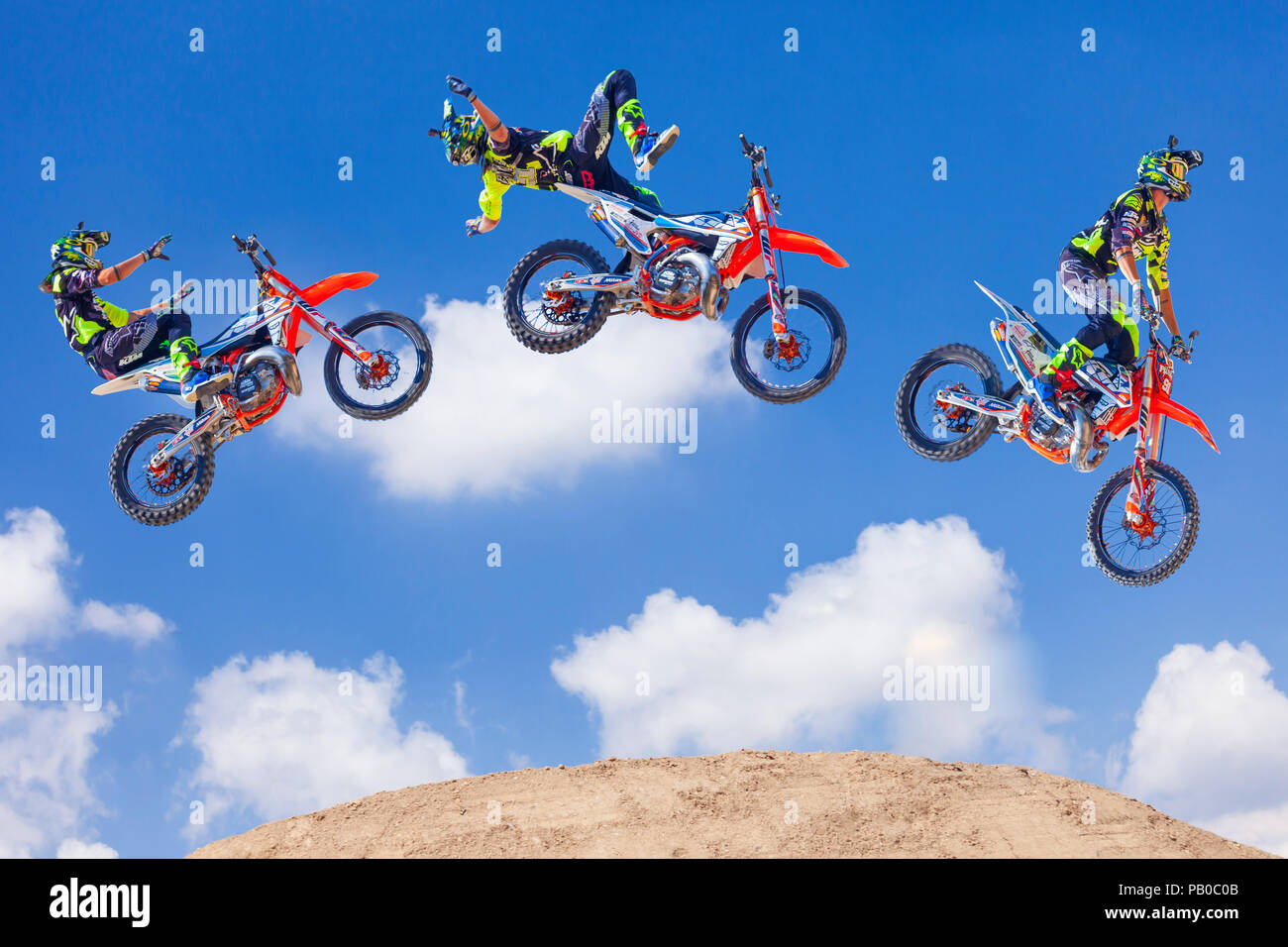 Freestyle motocross sequence. - Stock Image