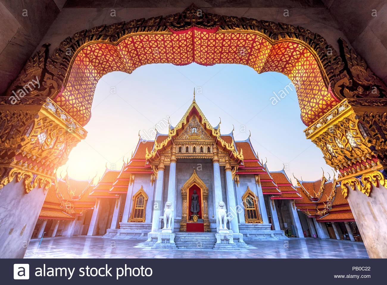 Thai Temple, Wat Benchamabophit Bangkok Thailand. - Stock Image