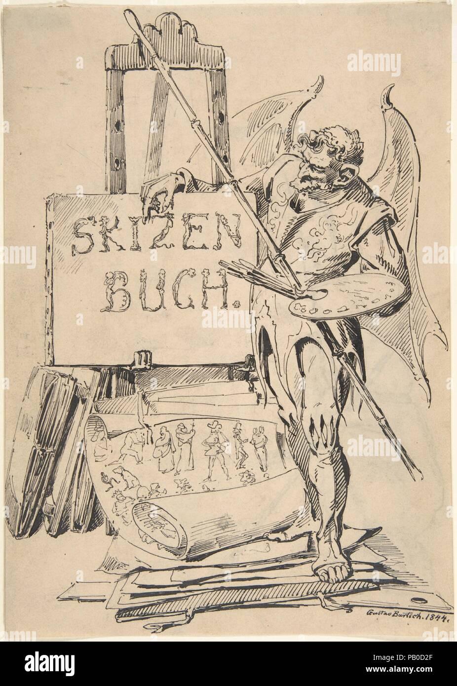 """Der Fehlerteufel (""""Devil of Mistakes""""). Artist: Gustav Bartsch (German, Gleiwitz (Oberschlesien) ca. 1821-after 1870 Dresden-Blasewitz). Dimensions: 9 1/4 x 6 1/2 in. (23.5 x 16.5 cm). Date: 1844. Museum: Metropolitan Museum of Art, New York, USA. Stock Photo"""