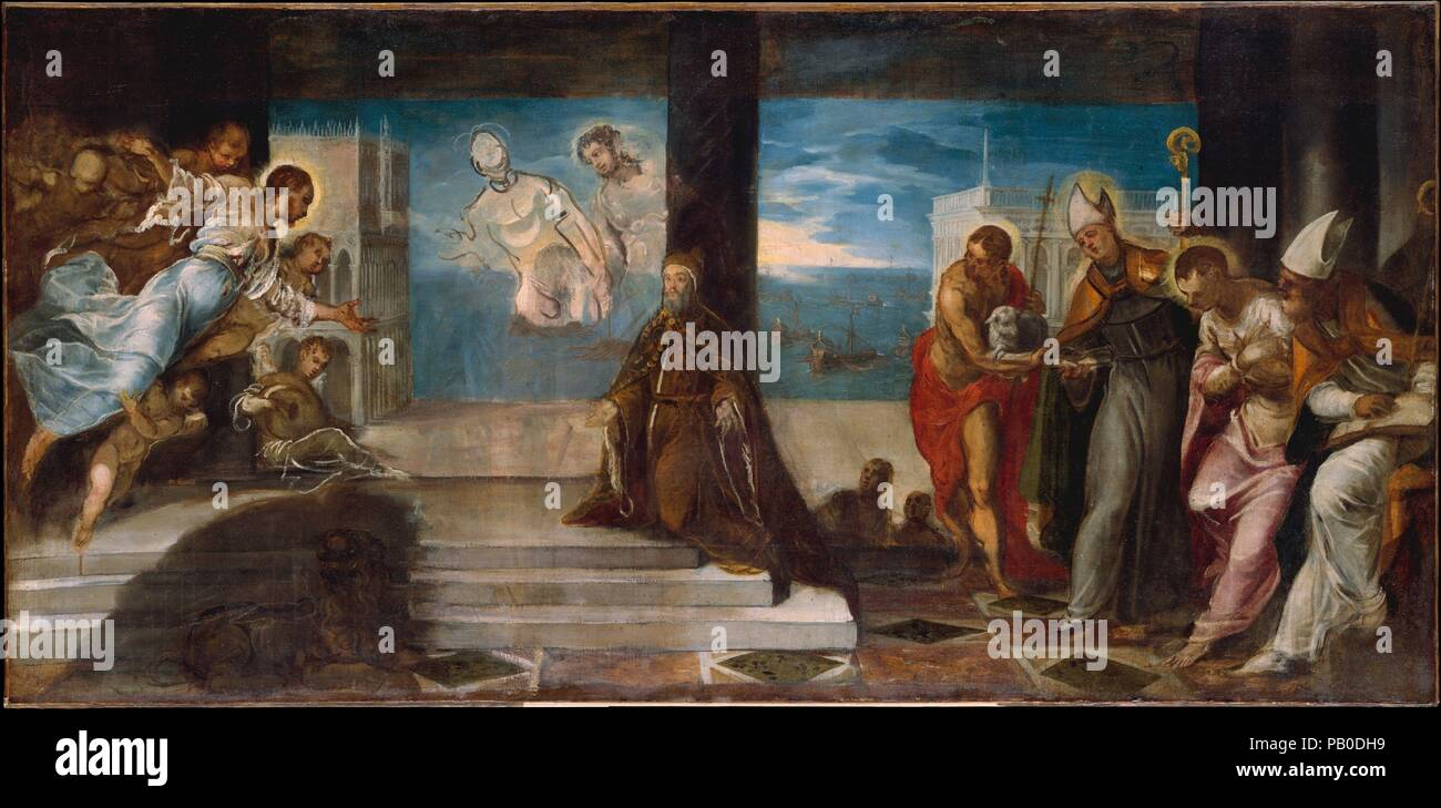 Doge Alvise Mocenigo (1507-1577) Presented to the Redeemer. Artist: Jacopo Tintoretto (Jacopo Robusti) (Italian, Venice 1518/19-1594 Venice). Dimensions: 38 1/4 x 78 in. (97.2 x 198.1 cm). Date: probably 1577.  This unfinished sketch records one stage of Tintoretto's preparation of a large votive painting of Doge Alvise Mocenigo destined for a room (the Sala del Collegio) in the Doge's Palace in Venice. Mocenigo ruled at the time of Venice's great victory at sea over the Turks, the Battle at Lepanto of 1571, represented in the sketch by the ships in the background, and during the ferocious pla Stock Photo