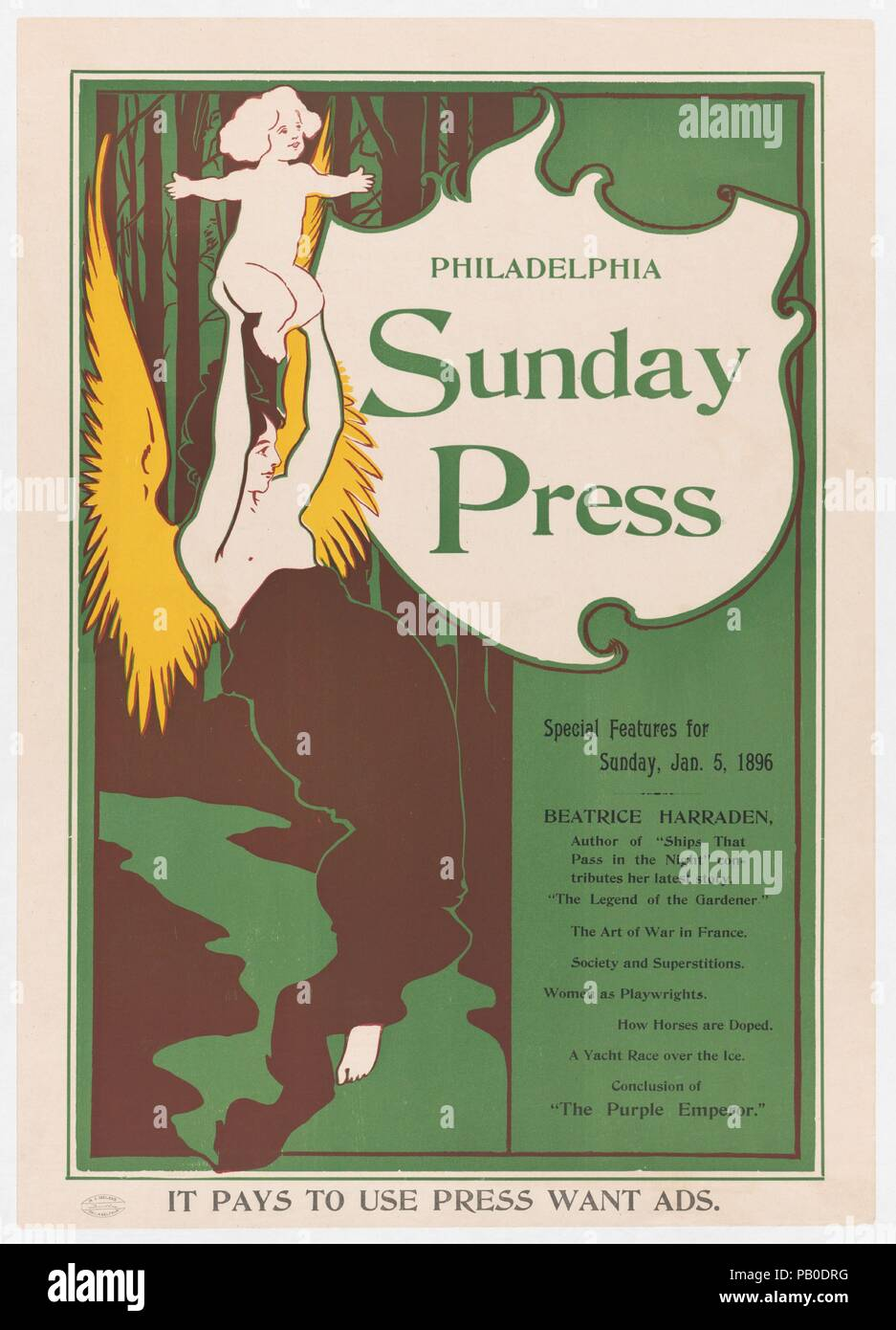 Advertisement for Philadelphia Sunday Press: Jan. 5, 1896. Artist: George Reiter Brill (American, Pittsburgh, Pennsylvania 1867-1918 Florida). Dimensions: Plate: 20 5/8 × 13 5/8 in. (52.4 × 34.6 cm)  Sheet: 21 7/8 × 15 1/2 in. (55.6 × 39.4 cm). Date: 1896. Museum: Metropolitan Museum of Art, New York, USA. - Stock Image