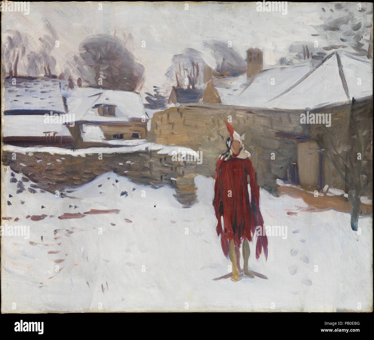 Mannikin in the Snow. Artist: John Singer Sargent (American, Florence 1856-1925 London). Dimensions: 25 x 30 in. (63.5 x 76.2 cm). Date: ca. 1891-93.  Sargent painted this canvas in the company of his fellow expatriate Edwin Austin Abbey in Fairford, Gloucestershire, where the two artists had rented a studio for their work on mural commissions. As a diversion one day, they arranged a mannequin in the snow and painted oil sketches of it from their studio window. The results reveal their dissimilar approaches to art. The critic Royal Cortissoz recalled that Abbey conjured from the mannequin a li Stock Photo