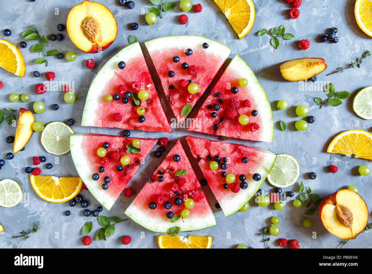 Bright Summer Wallpaper With Watermelon Slices Peaches