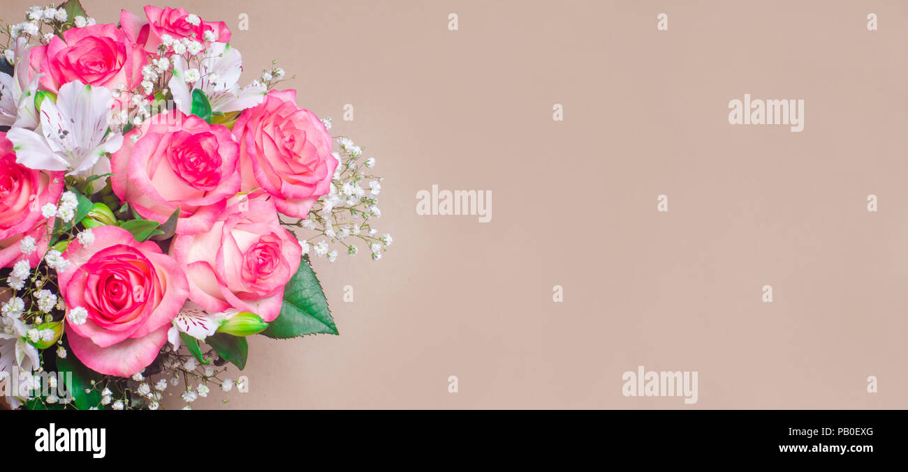 A bouquet of beautiful wedding flowers on a brown background banner a bouquet of beautiful wedding flowers on a brown background banner place for text izmirmasajfo
