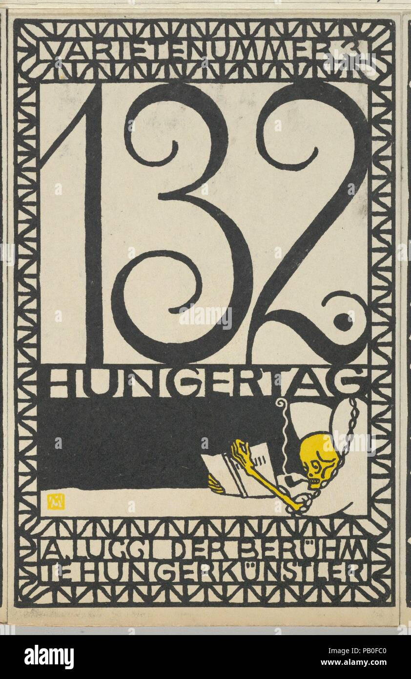 Variety Act 3: 132nd Day of Fasting, A. Lucci the Famous Hunger Artist (Varietenummer 3: 132 Hungertag, A. Lucci der Berühmte Hungerkünstler). Artist: Moriz Jung (Austrian (born Czechoslovakia) Moravia 1885-1915 Manilowa (Carpathians)). Dimensions: Sheet: 5 1/2 × 3 9/16 in. (14 × 9 cm). Publisher: Wiener Werkstätte. Date: 1907. Museum: Metropolitan Museum of Art, New York, USA. - Stock Image